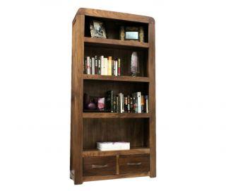 Baumhaus Shiro Walnut 4 Shelf Bookcase with 2 Drawers