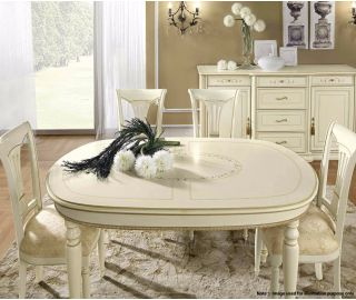 Camel Group Siena Ivory Finish Oval Extension Dining Table