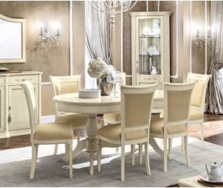 Camel Group Torriani Ivory Finish Oval Extension Dining Table
