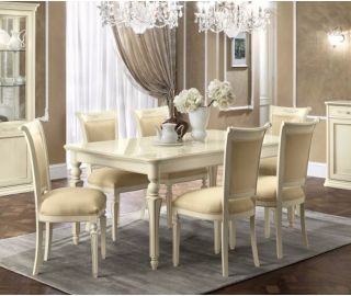 Camel Group Torriani Ivory Finish Rectangular Extension Dining Table