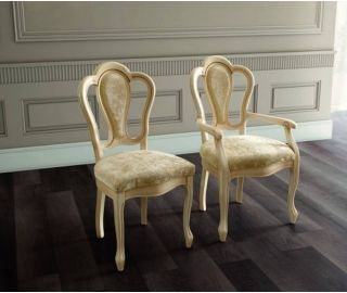 Camel Group Aida Ivory and Gold Michelangelo Dining Armchair