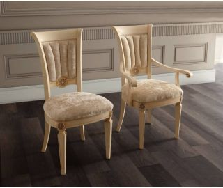 Camel Group Aida Ivory and Gold Dining Armchair