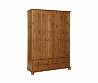 FTG Copenhagen Pine 3 Door 4 Drawer Wardrobe
