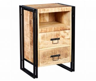 Indian Hub Cosmo Industrial 2 Drawer Side Table