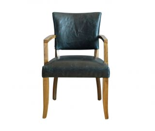 Vida Living Duke Ink Blue Leather Dining Armchair in Pair