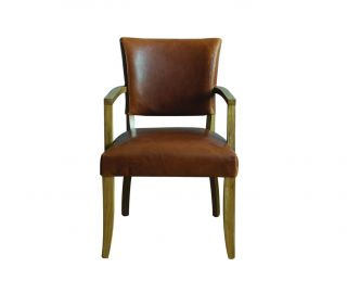Vida Living Duke Tan Brown Leather Dining Armchair in Pair