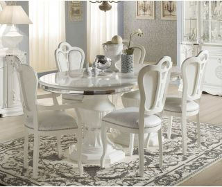 Tuttomobili Greta White Finish Oval Extension Dining Table