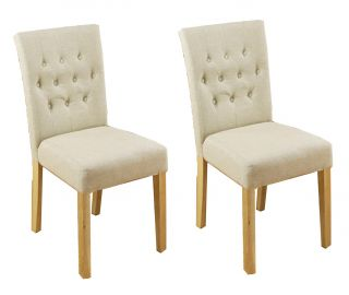 Baumhaus Mobel Oak Flare Upholstered Dining Chair (Pair)