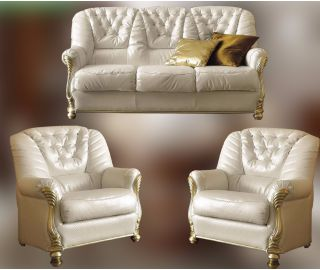Camel Group Leonardo White Leather 3+1+1 Sofa Suite
