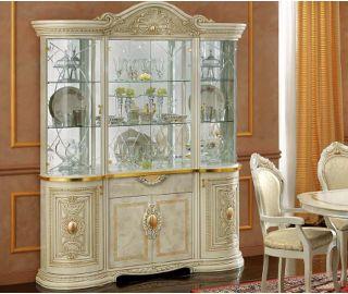 Camel Group Leonardo Ivory and Gold Finish 4 Door China Cabinet