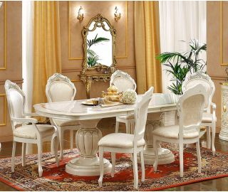 Camel Group Leonardo Ivory and Gold Finish Rectangle Extension Dining Table with 6 Chairs