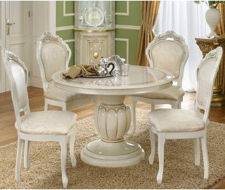 Camel Group Leonardo Ivory and Gold Finish Round Extension Dining Table with 4 Chairs