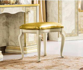 Camel Group Leonardo Ivory and Gold Finish Pouf
