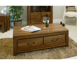 Baumhaus Mayan Walnut Low 4 Drawer Coffee Table