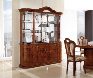 MCS Pamela Walnut Finish 4 Door Display Cabinet