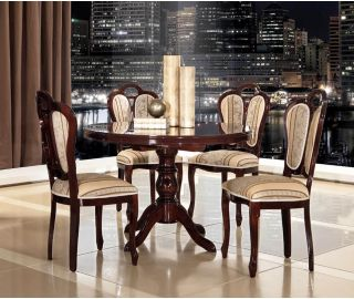 MCS Pamela Walnut Finish Round Dining Table with 4 Chairs