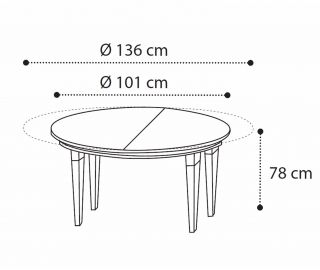 Camel Group Treviso Cherry Finish Round Extension Dining Table
