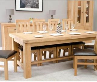 Homestyle GB Bordeaux Oak Grand Twin Panel Extending Dining Table Only