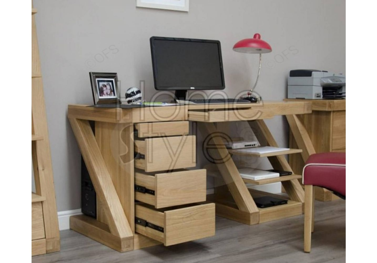 - Homestyle GB Z Oak Designer Large Computer Desk