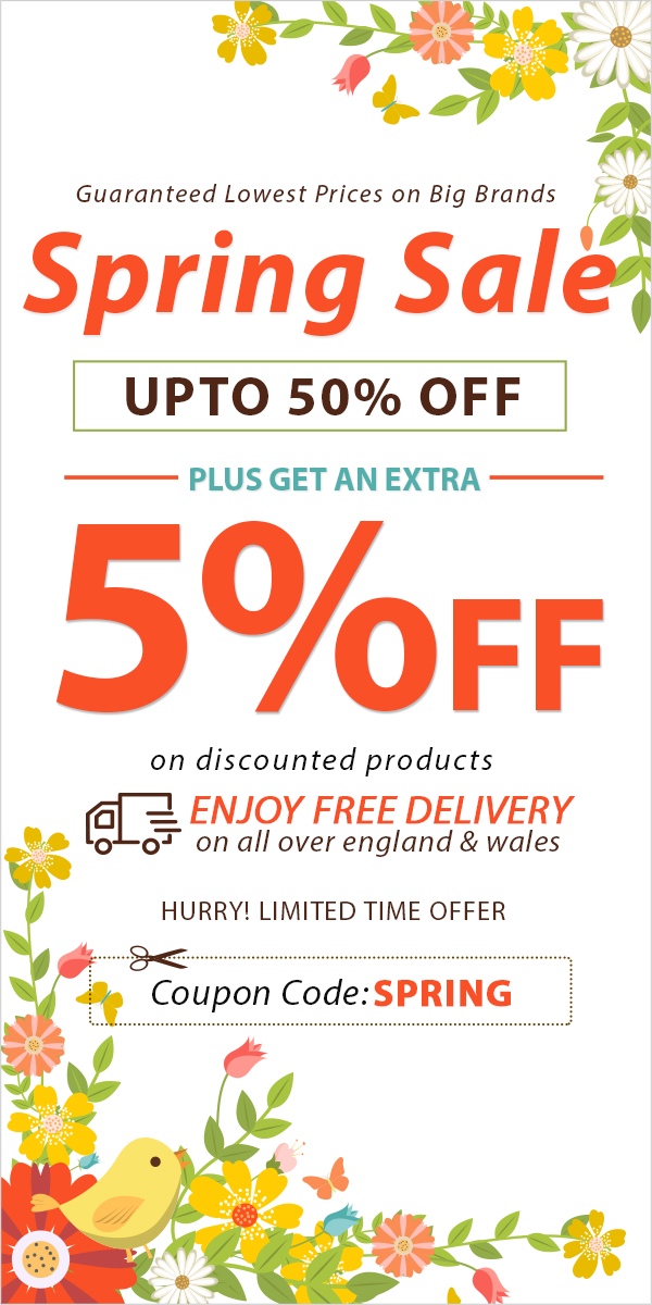 Spring Sale Save Upto 50% Off + Get Extra 5% Off